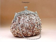 Champagne Chinese Women's Beaded Sequin Handbag Clutch Evening Bag Hand Party Bridal Bag Purse Free Shipping 03162g