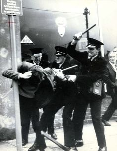 Banned Derry Civil Rights march broken up by RUC batons in presence of Gerry Fitt MP, three British Labour MPs and television crew. Two nights of rioting ensued. 1968.