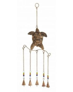 Copper Finish Metal Turtle Wind Chime - The metal turtle wind chimes brings nature back into your life. Full of bright colored beads and animated life, this metal turtle wind chime quickly captures the imagination or all your garden visitors. Crafted from metal, this wind chime is durable and easy to maintain. The five bells together make for a lovely and soothing sound. Ideal for your garden area.