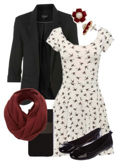 """""""Teacher Outfits on a Teacher's Budget 72"""" by allij28 ❤ liked on Polyvore featuring Hobbs, Miss KG, SELECTED, infinity scarves, ballet flats, boyfriend blazers, bird print and tights"""