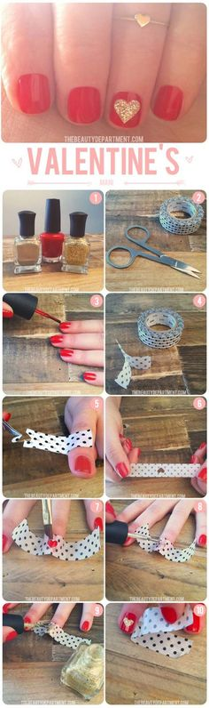 Valentine Nail Art Ideas tutorial - Washi Tape Glitter Heart - Cute and Cool Looks For Valentines Day Nails - Hearts, Gradients, Red, Black and Pink Designs - Easy Ideas for DIY Manicures with Step by Step Tutorials - Fun Ideas for Teens, Teenagers and Women http://diyprojectsforteens.com/valentine-nail-art-ideas