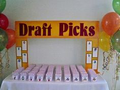 Basketball March Madness Draft Pick place cards. Adults got cards. Kids were listed by tables on the poles.
