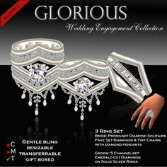 Second Life Marketplace - DEMO - Exquisite Glorious Silver Wedding Ring