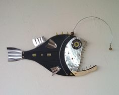 www.unikos.etsy.com ****** Excited to share the latest addition to my etsy shop: Angler Fish,Fish Wall Art,Steampunk Fish, Beach Decor, Fishing decor,fisherman, Fish art,fish sculpture,fish art, beach house decor Metal Fish, Wood Fish, Fish Wall Art, Fish Art, Fish Fish, Seaside Art, Small Cafe Design, Sculpture Lessons, Fish Design