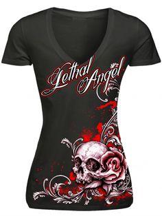 "Women's ""Floral Rose Skull"" Tee by Lethal Angel (Black)"