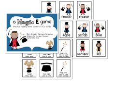 Magic E game - Great for CVC & CVCe practice.  Uses word pairs like bit ~ bite and cap ~ cape.