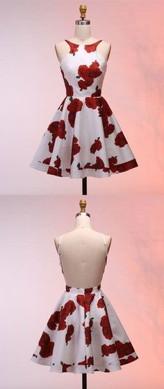 A-Line Round Neck Backless Floral White Short Prom Homecoming Dress