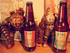 BROW SWEAT Bioshock American Pale Ale. I kindly made a batch of homebrew to take to a Bioshock/Fallout/S.T.A.L.K.E.R./post apocalyptic themed party, if it doesn't all get drunk well then I'll be the son of a splicer. More Pics