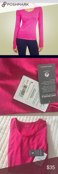 New... Athleta Long Sleeve Chi Top ... Size Med New Pink Athleta Shadow Stripe Chi Top ... Unstinkable (wear more wash less)... UPF 30+ Protected... Breathable (sweat can travel through the fabric so it can evaporate on the surface Athleta Tops Tees - Long Sleeve