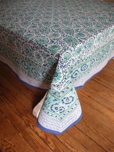 Hand Block Printed Tablecloth  Blue mint and white by rasany