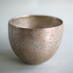 Cup.Pottery,silver glaze.June 2014.At the Kiyosumi Babaghuri shop.