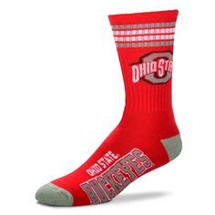 Men's For Bare Feet Ohio State Buckeyes 4-Stripe Deuce Performance Crew Socks