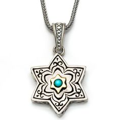 Artisan 9k Gold Turquoise Silver Star Of David Necklace