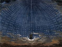 mozart's magic flute    stage set design for mozart's magic flute by german architect and painter Karl Friedrich Schinkel.  1815,  Staatliche Museen, Berlin