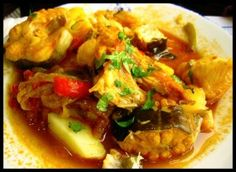 Firstly you may be wondering what on earth 'Caldeirada' is! Well, it's Portugese monster fish stew - perfect for a cold day to warm you up.