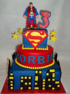 3 tier vanilla cake with buttecreeam and fondant accents. I used a toy Superman doll on top. I did this cake for the Icing Smiles Organization. Pretty Cakes, Cute Cakes, Fondant Cakes, Cupcake Cakes, Cupcake Ideas, Superman Cakes, Superman Stuff, Bolo Fack, Superman Birthday Party