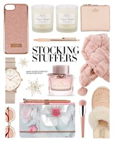 """#PolyPresents: Stocking Stuffers"" by monmondefou ❤ liked on Polyvore featuring Burberry, Ted Baker, UGG, D.L. & Co., Kate Spade, ROSEFIELD, Puma, Gucci, WishList and Pink"