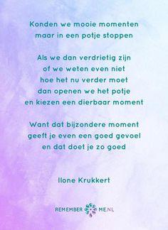 Het gedicht 'In een potje' over het afscheid, het verdriet en het gemis na de dood van een geliefde. Lees meer op: http://www.rememberme.nl/gedichten-over-rouw-en-verlies/