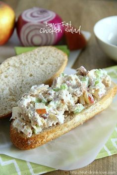 This chicken salad is super simple to make and is much lower in fat thanks to one simple ingredient: Greek yogurt! This chicken salad can be served over greens or on your favorite sandwich bread. Greek Yogurt Chicken Salad, Greek Yogurt Recipes, Low Carb Recipes, Cooking Recipes, Healthy Recipes, Skinny Recipes, Healthy Meals, Diet Recipes, Mayonnaise