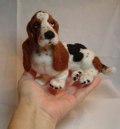 Felted dog custom sculpture Basset Hound pet portrait art made #felteddog