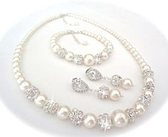 Set de bijoux en perle - perles Swarovski et cristaux ~ ensemble de 3 pièces ~ Pearl Bracelet, boucles d