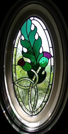 thistle leaded glass window