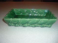 Vintage McCoy U s A Rectangular Green Leaf Center Piece Planter in Really Good   eBay
