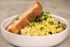 Gently Scrambled Eggs with Wild Vegetables   Wild vegetables just folded together with fresh herbs, spring eggs, and crème fraîche.