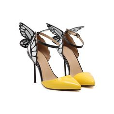 SheIn(sheinside) Yellow Point Toe Ankle Strap Butterfly Pumps (67 PLN) ❤ liked on Polyvore featuring shoes, pumps, heels, butterflies, yellow, patent leather pumps, patent leather platform pumps, yellow platform pumps, d'orsay pumps and high heel platform pumps