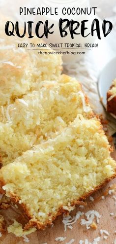 Pineapple Coconut Quick Bread: this sweet tropical quick bread is full of flaky coconut, bites of pineapple, and it can be served for breakfast or dessert! Pineapple Coconut Bread, Coconut Quick Bread, Quick Bread Recipes, Baking Recipes, Coconut Bread Recipe, Cake Recipes, Lemon Desserts, Köstliche Desserts, Homemade Desserts