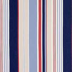 Coastal Stripe Fabric, Red/Blue  from John Lewis