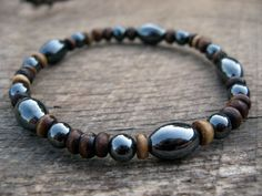 Mens surfer bracelet, hematite and bone, stretch bracelet, handmade from upcycled beads, natural materials
