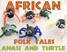 Anansi spider craft, african folk tales for kids Could have campers create their own folk tale (through a skit, dancing, singing, or using characters they create) African Art For Kids, African Art Projects, African Children, African Crafts Kids, Africa Activities For Kids, Projects For Kids, Crafts For Kids, Safari Crafts, Africa Craft