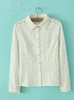 US$29.11 Luxury White Lapel Long Sleeves Lace Blouse. #Blouses #Luxury #Blouse #Long