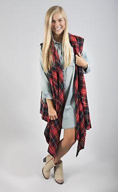 LOVE this long plaid vest