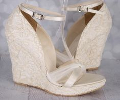 Custom Wedding Shoes,Wedding Wedges, Wedge Wedding Shoes, Lace Wedding Shoes, Lace Wedges, Lace Shoes, Ivory Wedding Shoes