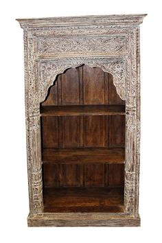 Antique bookcase that was salvaged from the Havelis of Rajasthan with a warm rustic wooden that defines character and age Wooden shelf unit bookcase will accent beautifully to any room. Exterior dimensions deep x 2 Rustic Bookcase, Antique Bookcase, Wooden Shelf Unit, Wooden Shelves, Rustic White, Rustic Wood, Ivory White, Bakers Rack, Welcome To My House