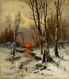Yuliy Yulevich Klever - Sunset in the Forest in winter