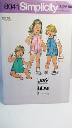 Toddler's Jiffy Short Jumpsuit Vintage 70's Simplicity