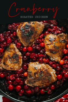 This Cranberry Roasted Chicken recipe is easy to make with just one pan and it's oh so deliciously seasonal.