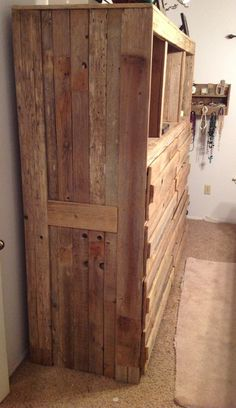 Can't get much more rustic than this rustic bedroom furniture Dresser - Bring yo. Cute Furniture, Rustic Bedroom Furniture, Home Decor Furniture, Pallet Furniture, Bedroom Decor, Master Bedroom, Rustic Room, Rustic Decor, Men's Bedroom Design
