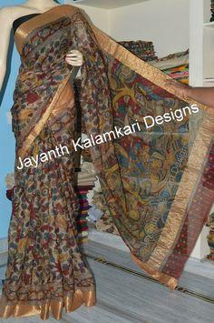 KALAMKARI - JAYANTH KALAMKARI DESIGNS: Kota silk pen kalamkari sarees