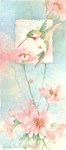 Hummingbird in a Flower Garden 12 x 6.25 original watercolor | CShoresInc - Painting on ArtFire