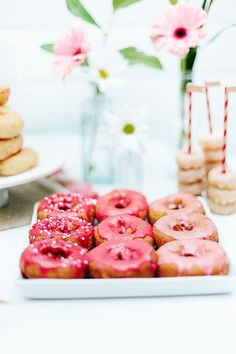 Pink-frosted doughnu