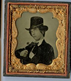 Civil War Era Ambrotype YOUNG Cocky Man Dandy in Top Hat GREAT LOOK 1850's 6th P | eBay