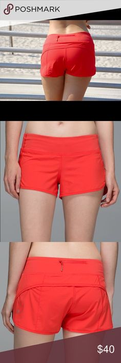 """🍋 lululemon speed shorts """"alarming"""" red Size 6 Great condition! the color alarming is red with an orange tint to it, this color is sold out and apparently rare, sold for 130 on ebay 😳 zipper pocket 4 way stretch! lululemon athletica Shorts"""