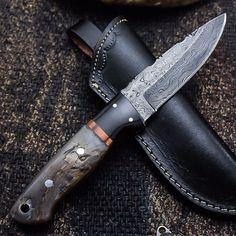 ALONZO KNIVES USA CUSTOM HANDMADE DAMASCUS TACTICAL HUNTING KNIFE RAM HORN 104 #AlonzoKnives