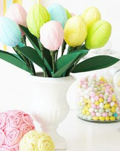 I love this fun, pastel bouquet made from chocolate Easter eggs. Kids can make this Easter craft in minutes.