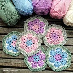 Crochet African Flower Free Knitting Pattern - Crochet Craft, Yarn Balls - LoveItSoMuch.com