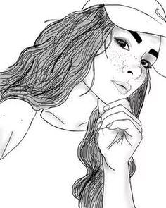 dessin de fille noie et blan Tumblr Outline Drawings, Tumblr Girl Drawing, Tumblr Sketches, Art Tumblr, Tumblr Image, Easy Drawings, Drawing Sketches, Girl Drawings, Tumblr Hipster